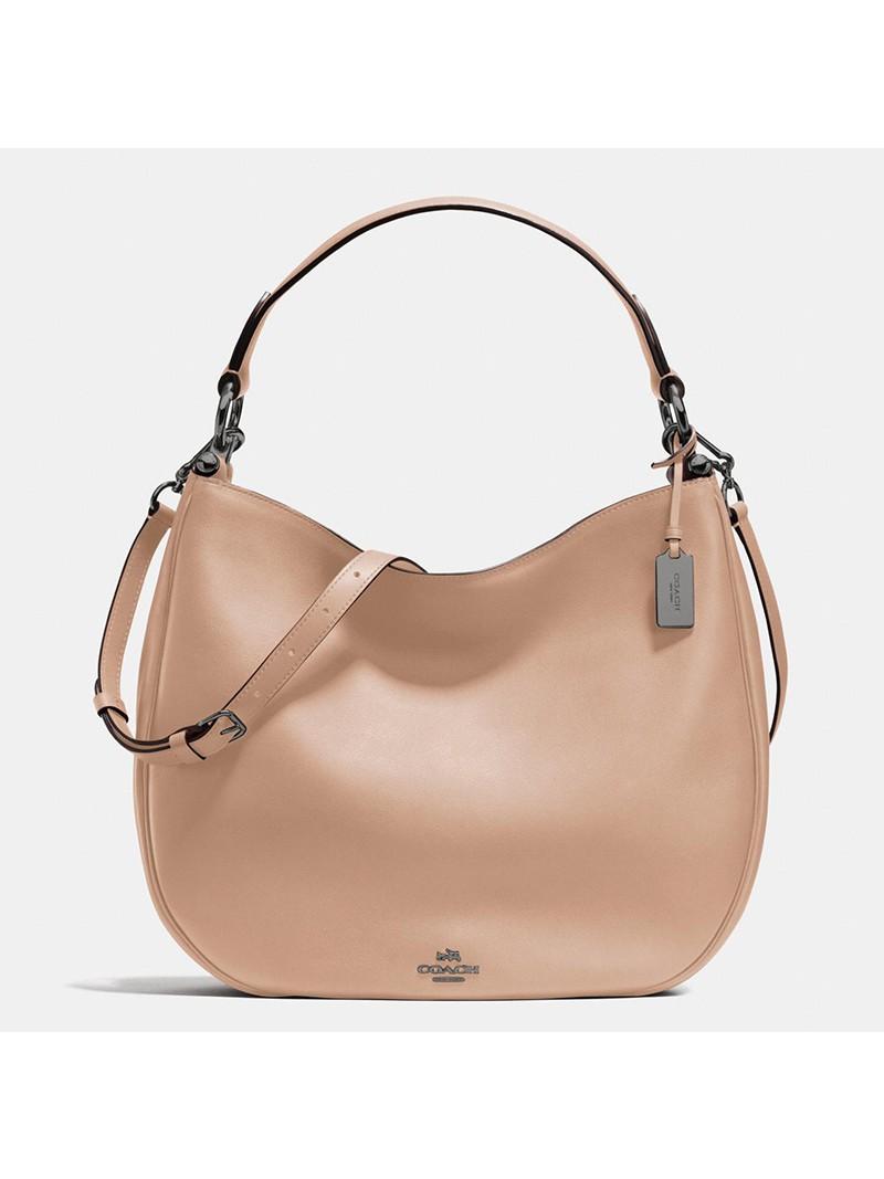 Coach Nomad Hobo In Glovetanned Leather Apricot