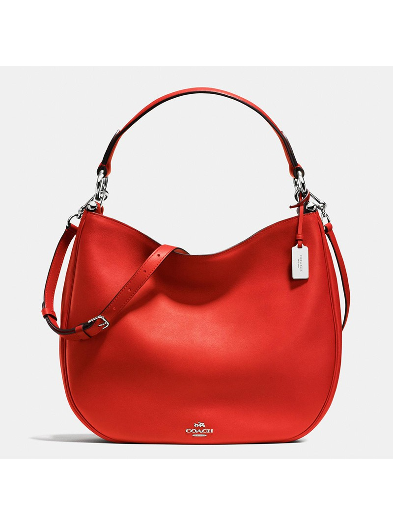 Coach Nomad Hobo In Glovetanned Leather Red