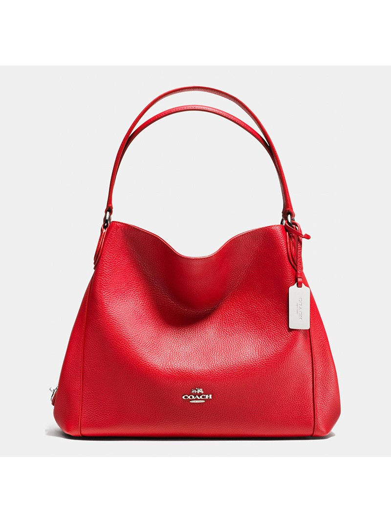 Coach Edie Shoulder Bag 31 In Pebble Leather Red