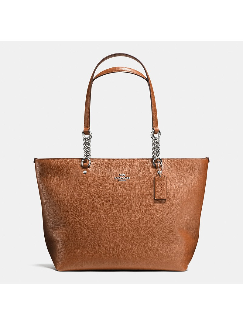 Coach Sophia Tote In Pebble Leather Brown