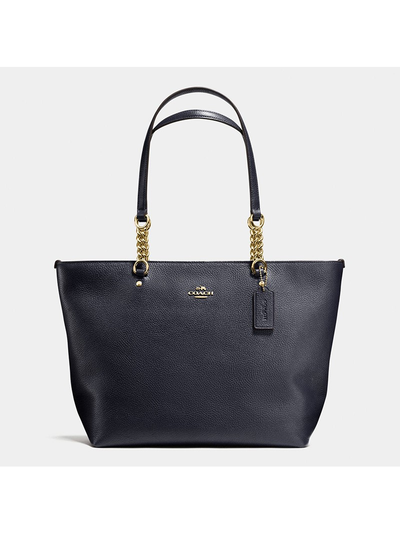 Coach Sophia Tote In Pebble Leather Navy Blue