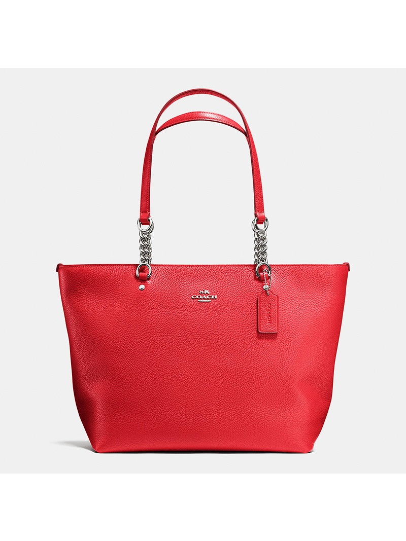 Coach Sophia Tote In Pebble Leather Red