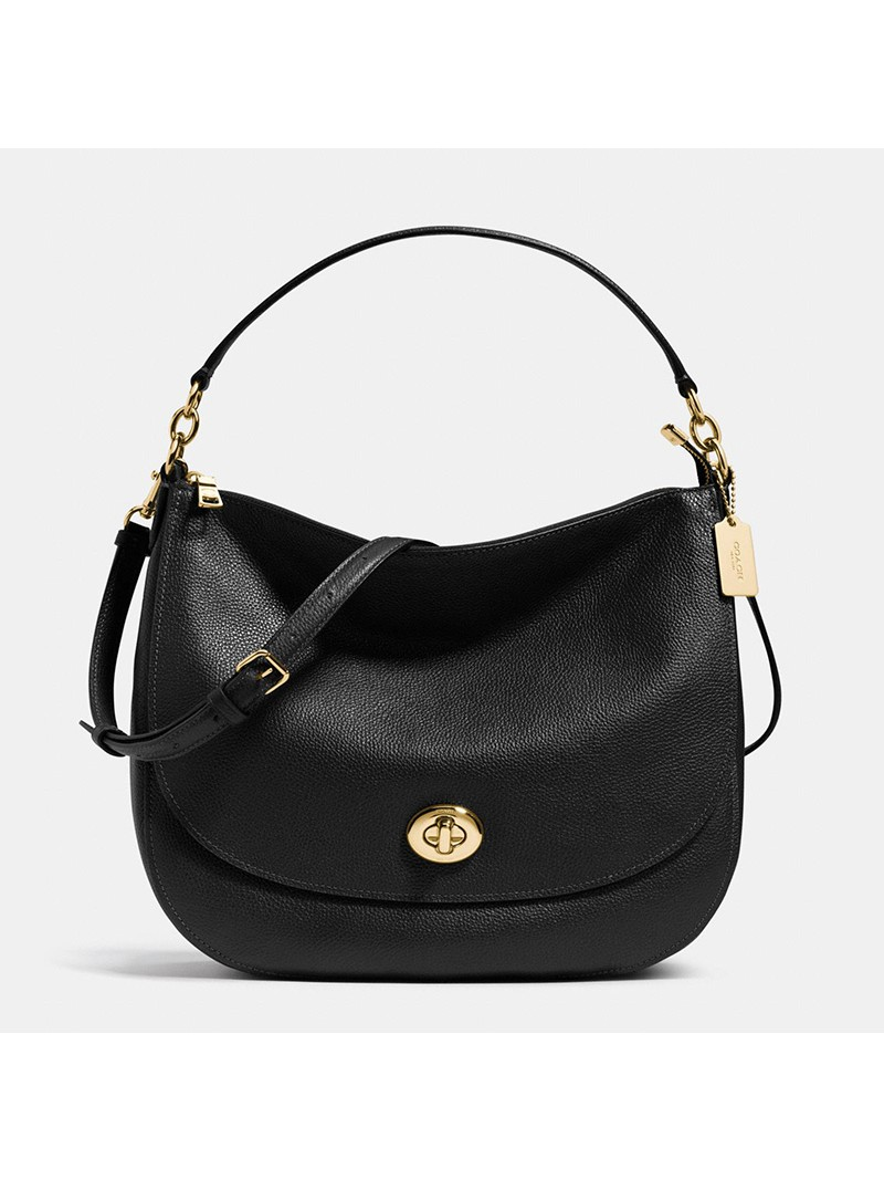 Coach Turnlock Hobo In Pebble Leather Black