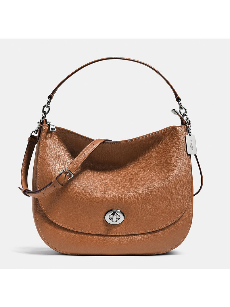Coach Turnlock Hobo In Pebble Leather Brown