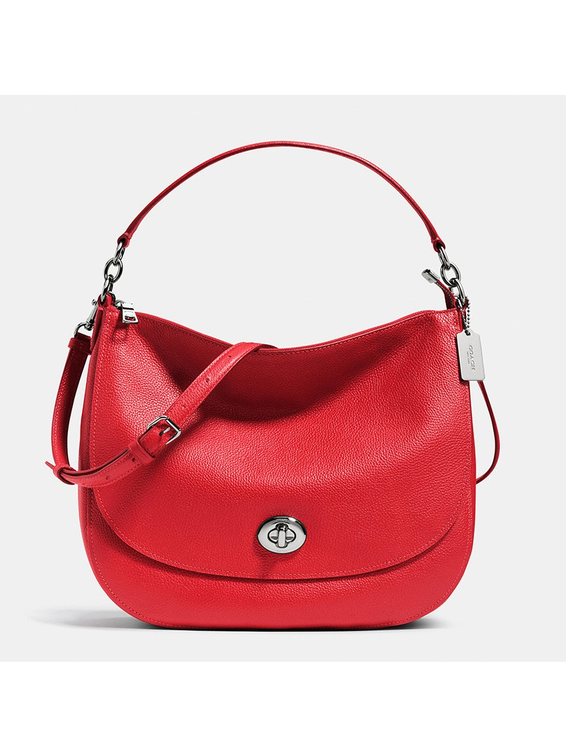 Coach Turnlock Hobo In Pebble Leather Red