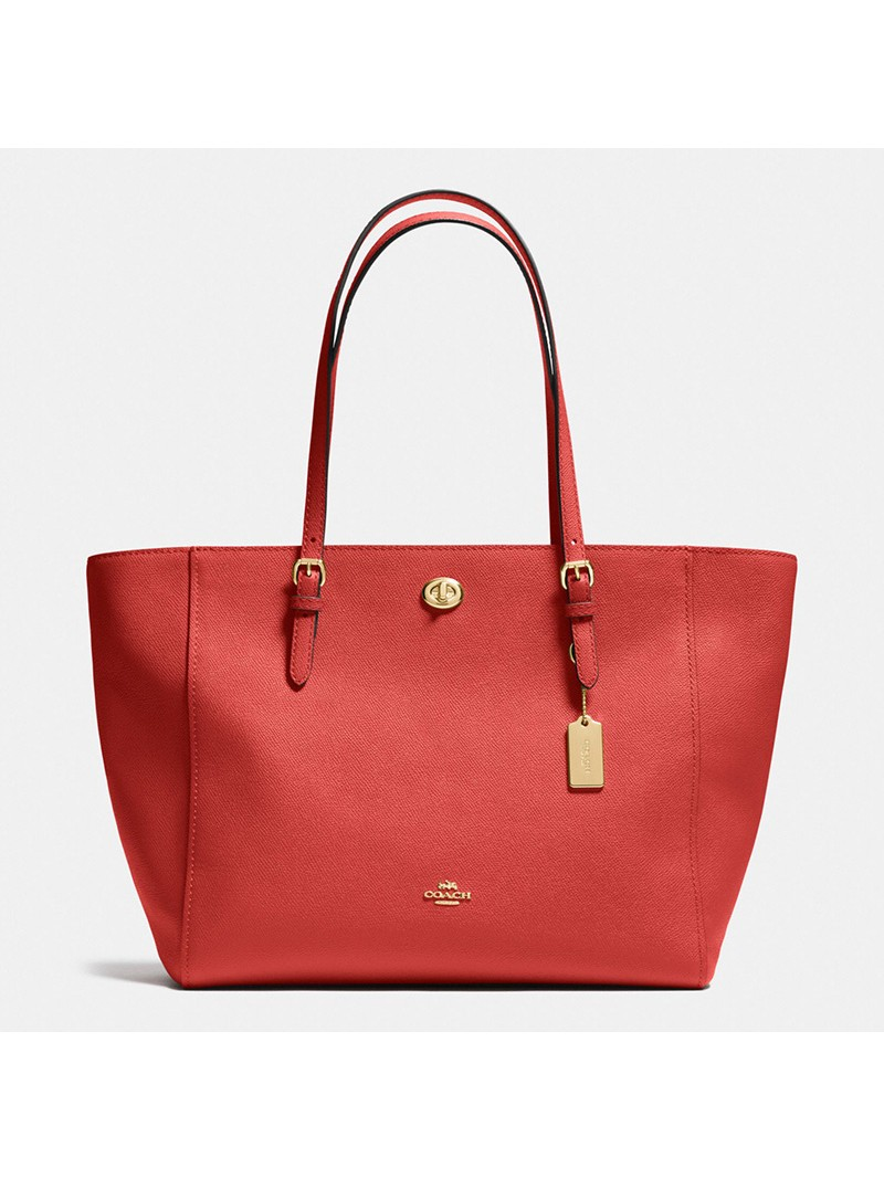 Coach Turnlock Tote In Crossgrain Leather Red