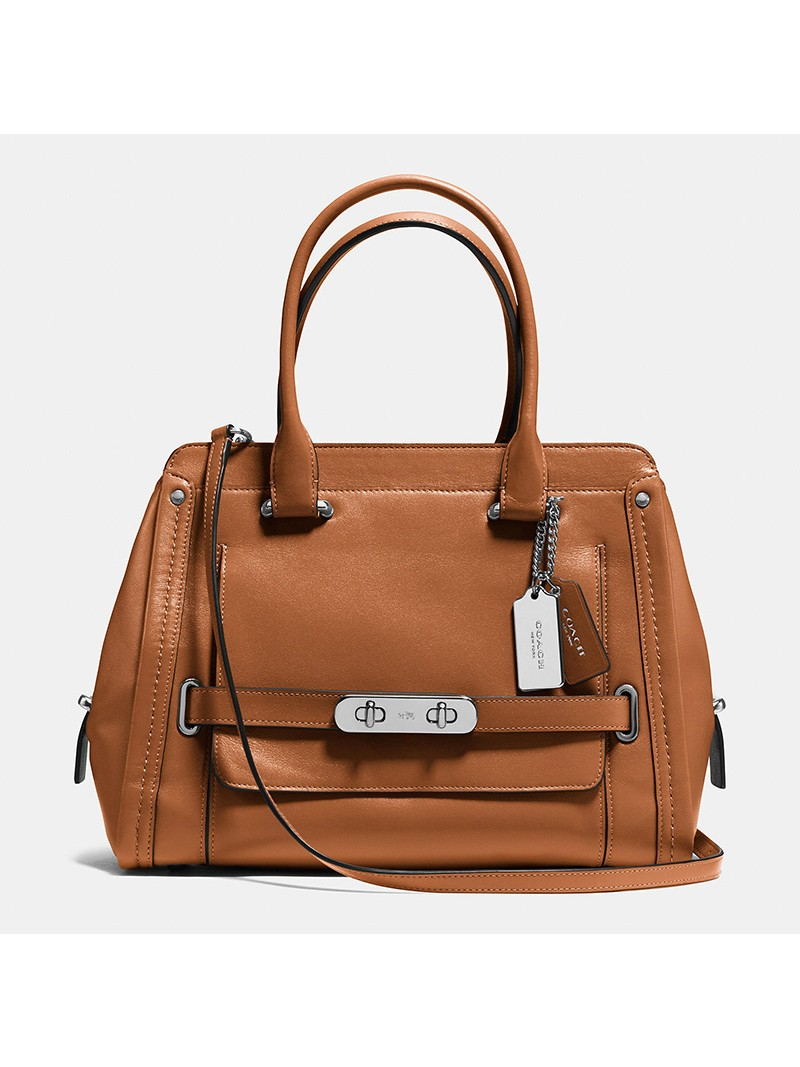 Coach Swagger Frame Satchel In Calf Leather Brown