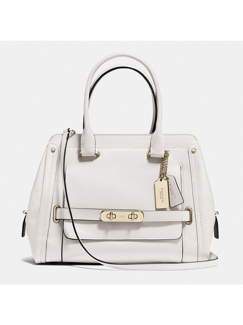 Coach Swagger Frame Satchel In Calf Leather White
