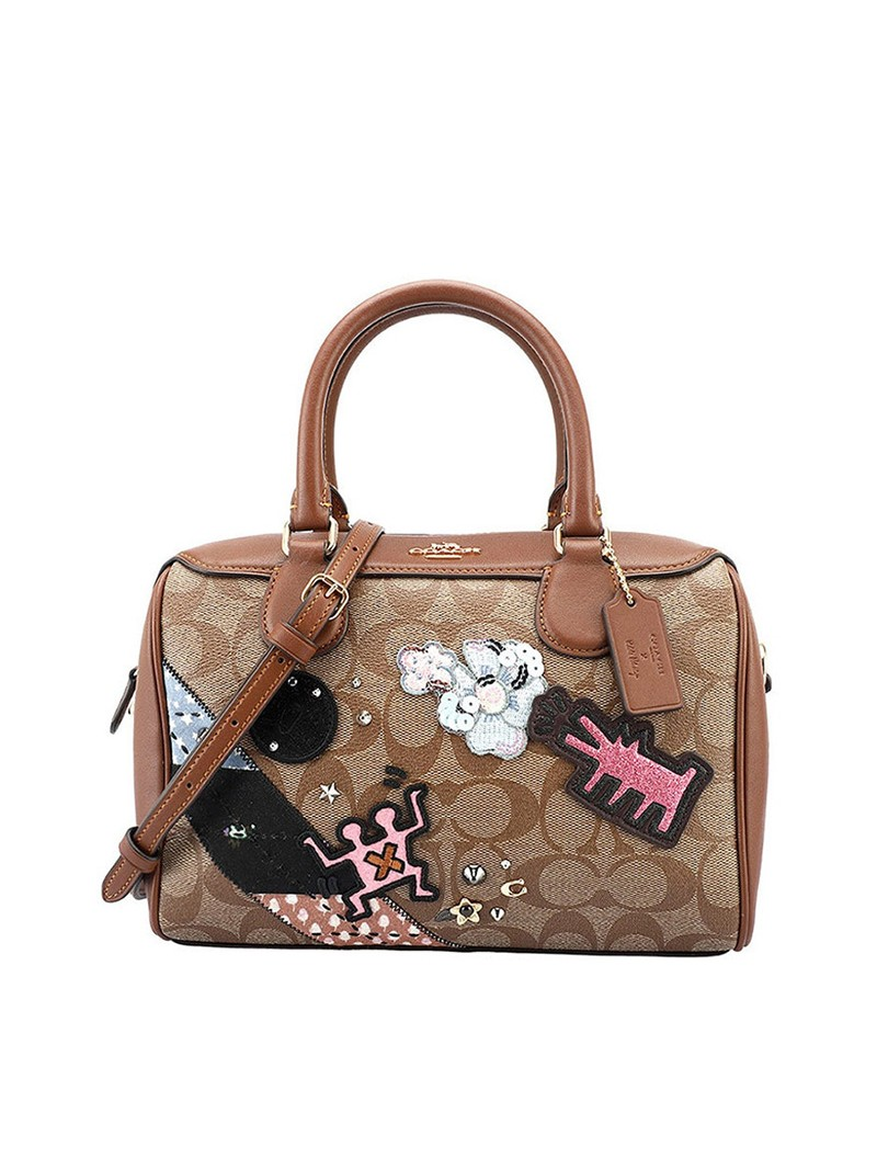 Keith Haring x Coach Boston Bag with Patches In Signature Canvas Brown