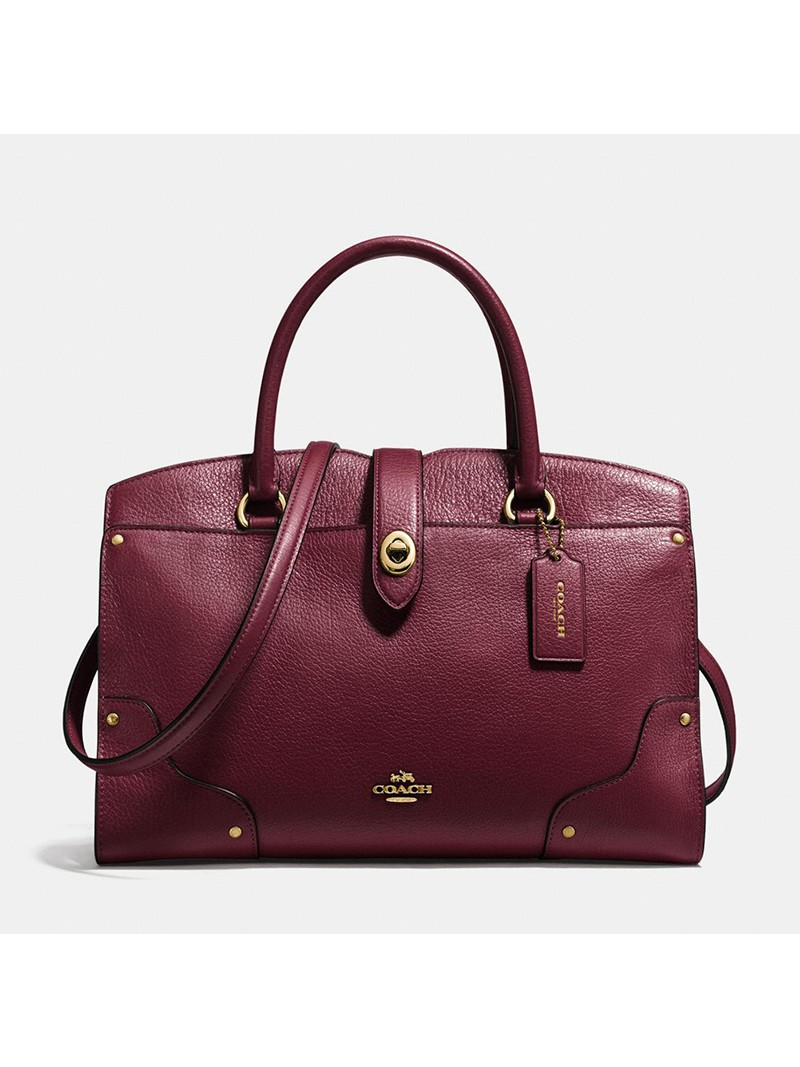 Coach Mercer Satchel 30 in Grain Leather Burgundy