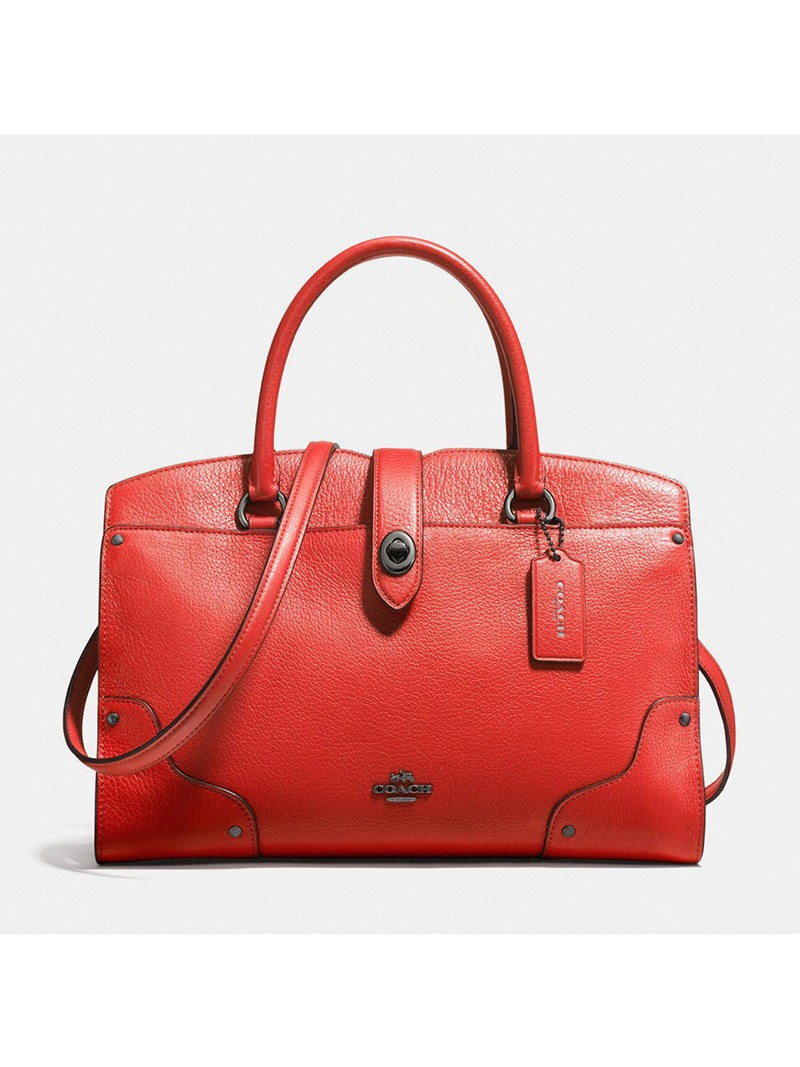 Coach Mercer Satchel 30 in Grain Leather Red