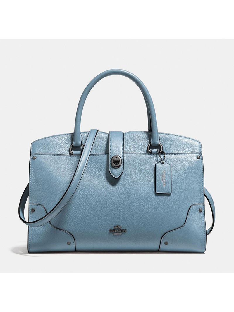 Coach Mercer Satchel 30 in Grain Leather Sky Blue