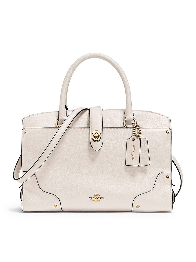 Coach Mercer Satchel 30 in Grain Leather White