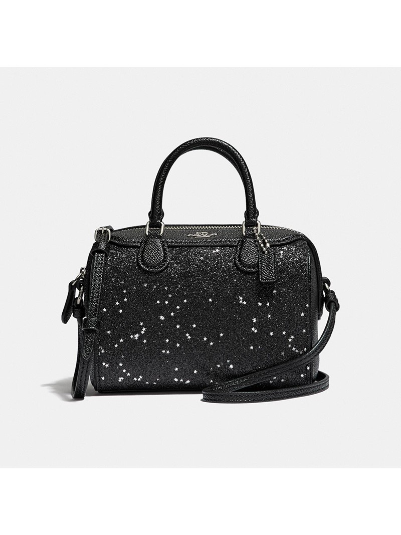 Coach Micro Bennett Boston Bag with Star Glitter in Crossgrain Leather Black