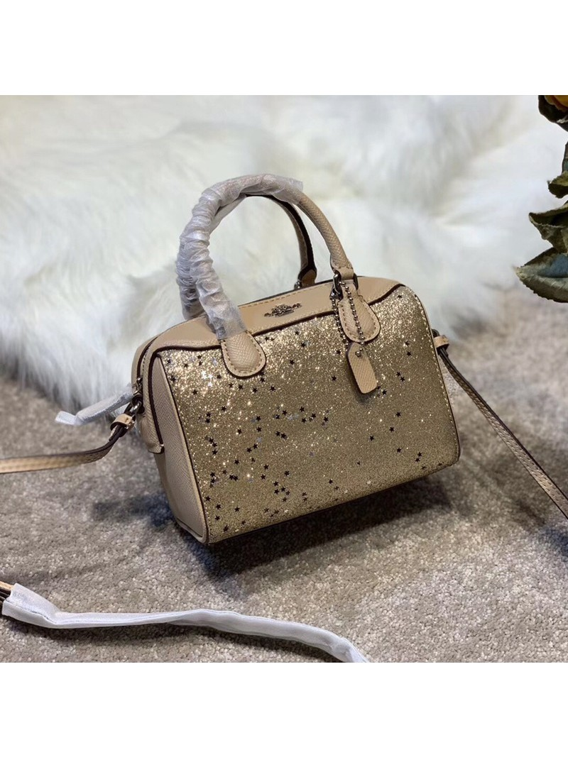 Coach Micro Bennett Boston Bag with Star Glitter in Crossgrain Leather Gold