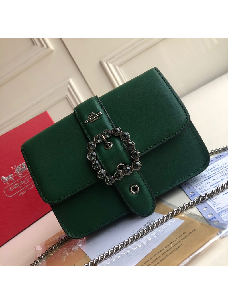 Coach Bowery Crossbody with Jewel Buckle In Refined Leather Green