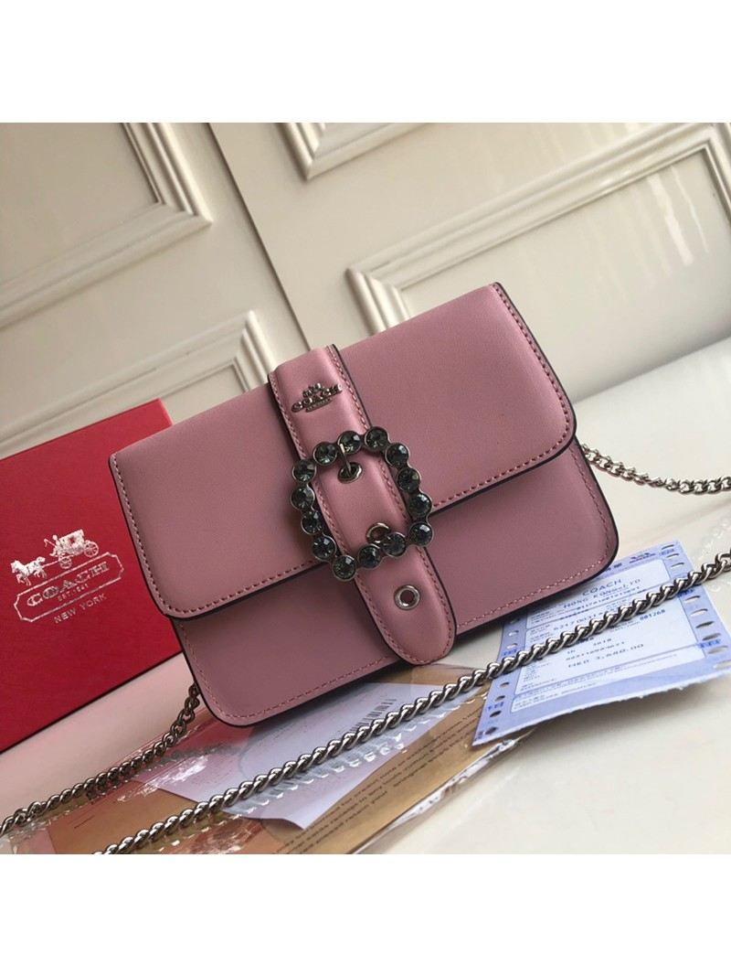Coach Bowery Crossbody with Jewel Buckle In Refined Leather Pink