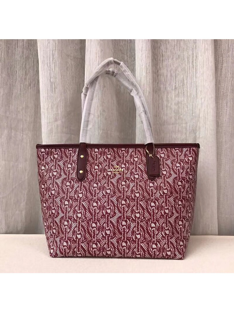 Coach City Tote with Chain Print In Signature Canvas Red