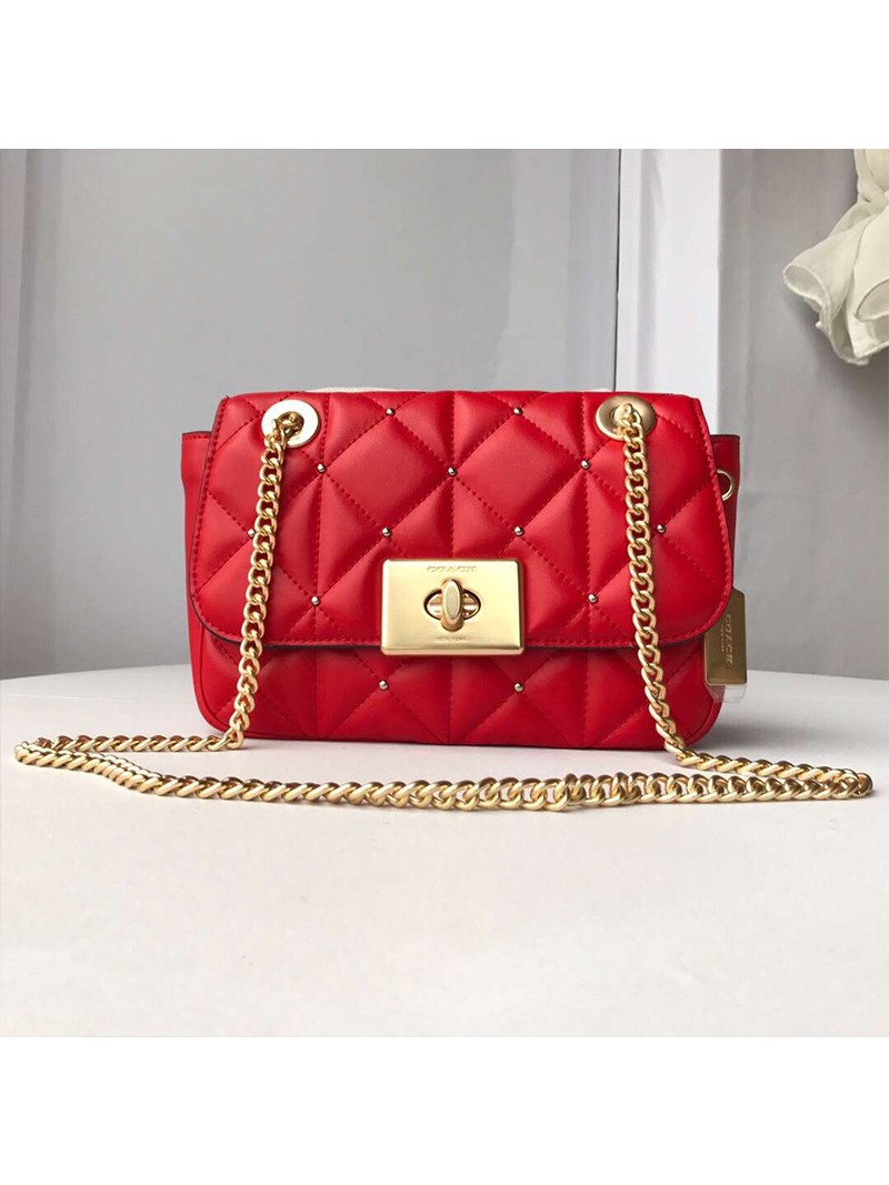 Coach Cassidy Crossbody In Studded Diamond Quilting Leather Red