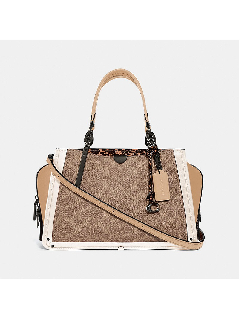 Coach Dreamer Sling Bag In Signature Snakeskin Canvas Apricot