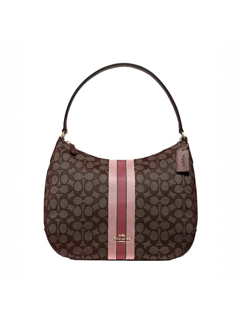 Coach Zip Shoulder Bag In Signature Jacquard With Stripe Coffee