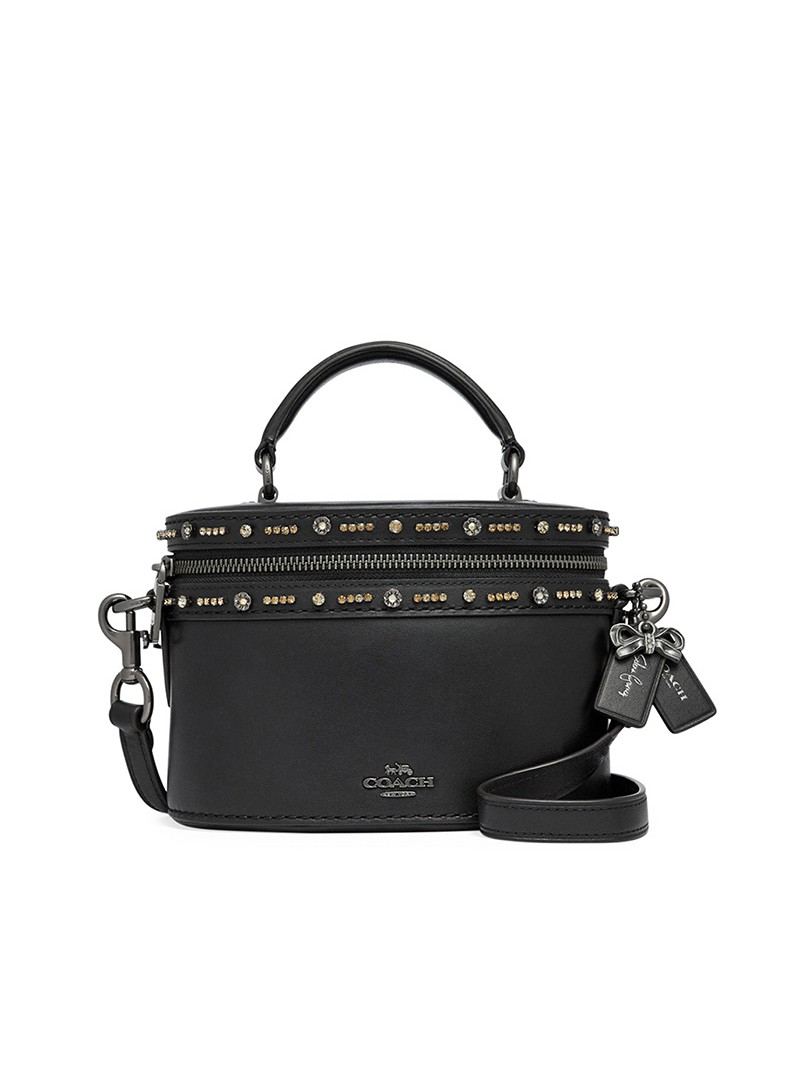 Selena Gomez x Coach Trail Bag with Crystal Embellishment in Refined Leather Black