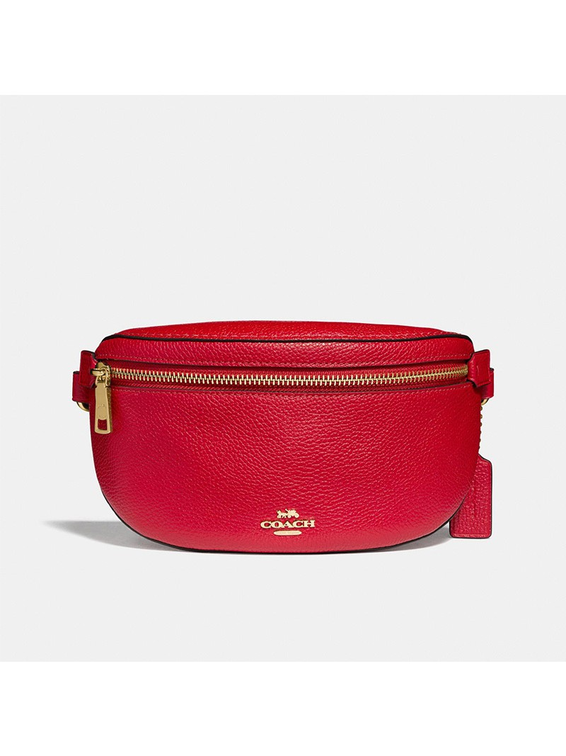 Coach Belt Bag in Pebble Leather Red