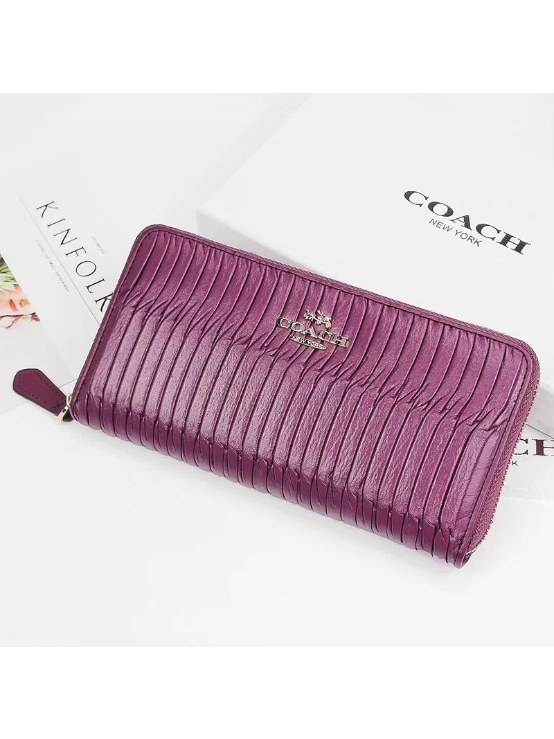 Coach Accordion Zip Wallet in Madison Gathered Leather Purple
