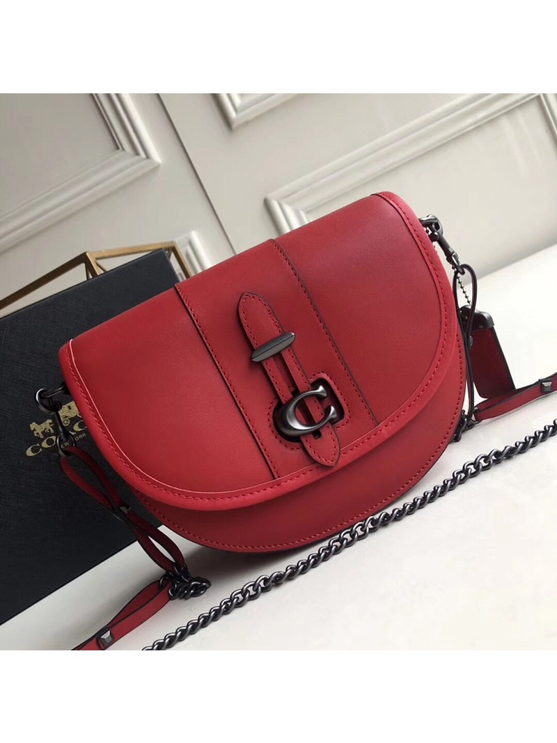 Coach Saddle 20 Bag In Glovetanned Leather Red