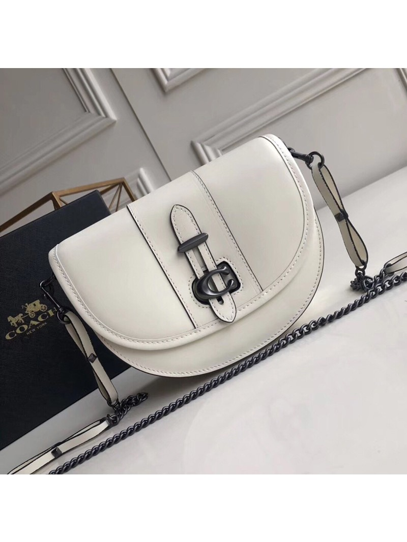 Coach Saddle 20 Bag In Glovetanned Leather White
