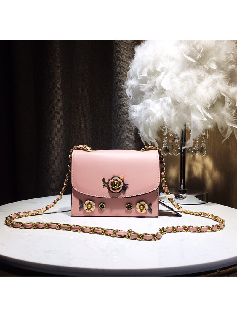 Coach Parker Bag with Allover Tea Rose Stones In Refined Leather Pink