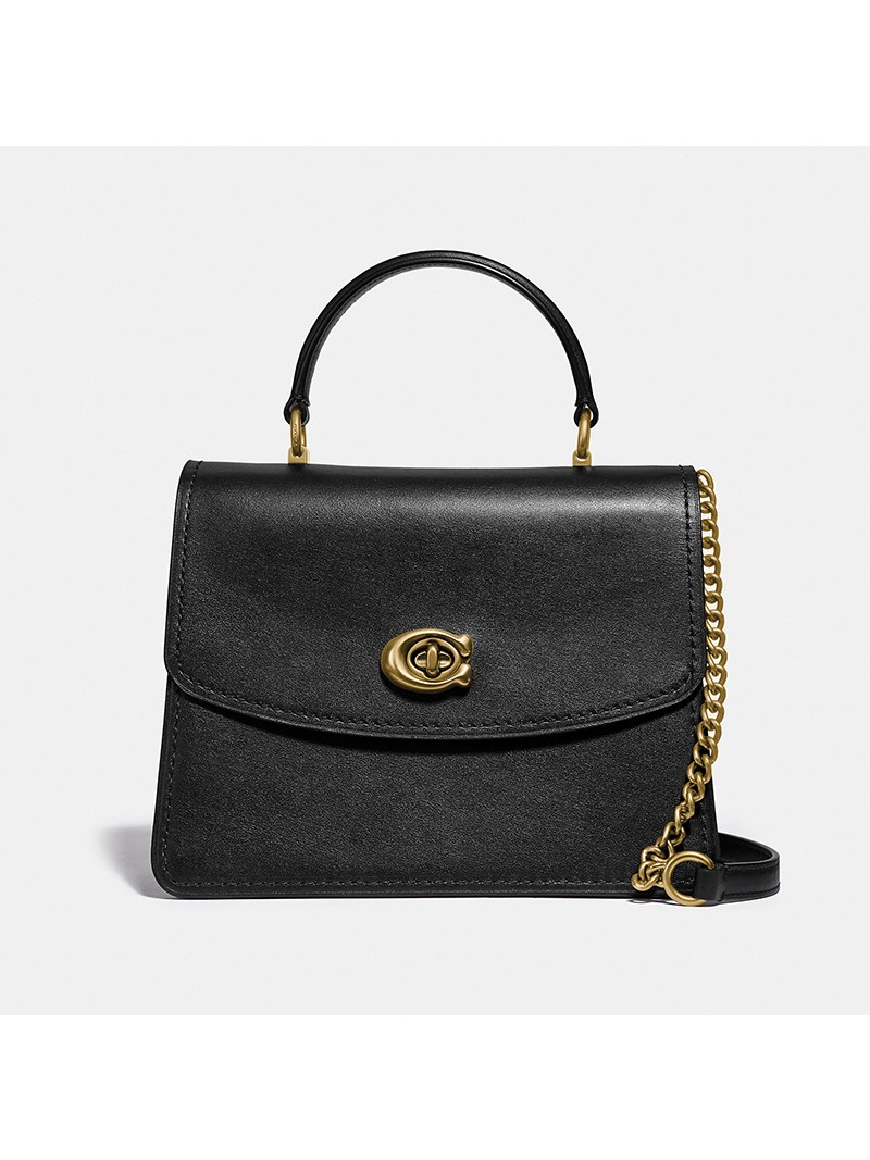 Coach Parker Top Handle In Refined Leather Black