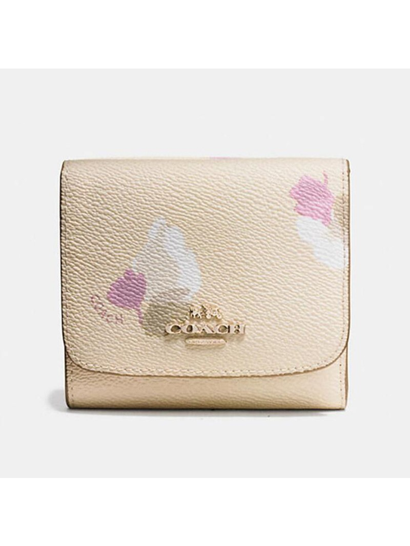 Coach Small Trifold Wallet with Floral Print in Coated Canvas Apricot