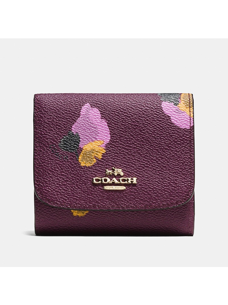 Coach Small Trifold Wallet with Floral Print in Coated Canvas Purple