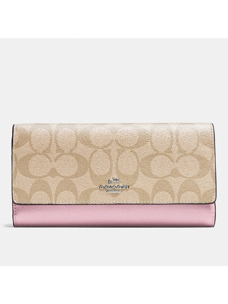 Coach Large Trifold Wallet In Signature Canvas Apricot