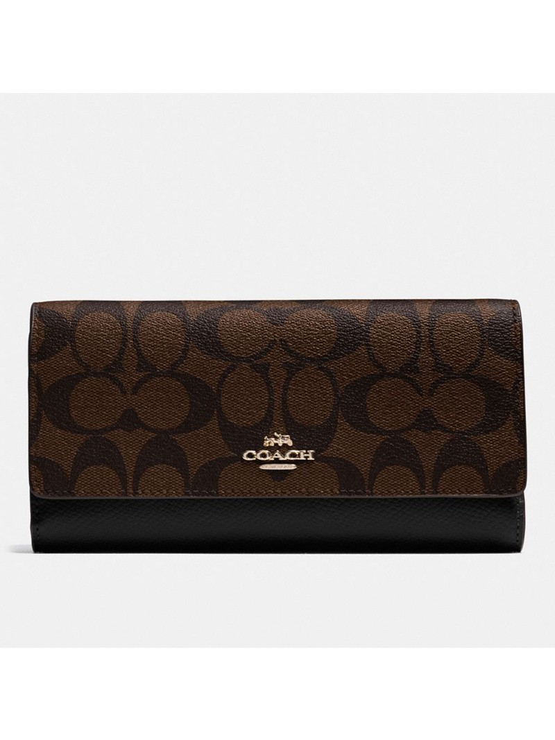 Coach Large Trifold Wallet In Signature Canvas Coffee
