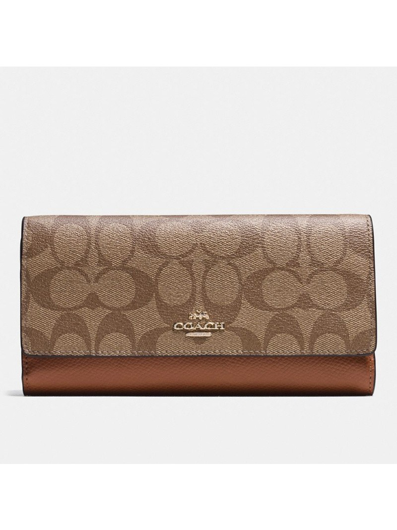 Coach Large Trifold Wallet In Signature Canvas Khaki