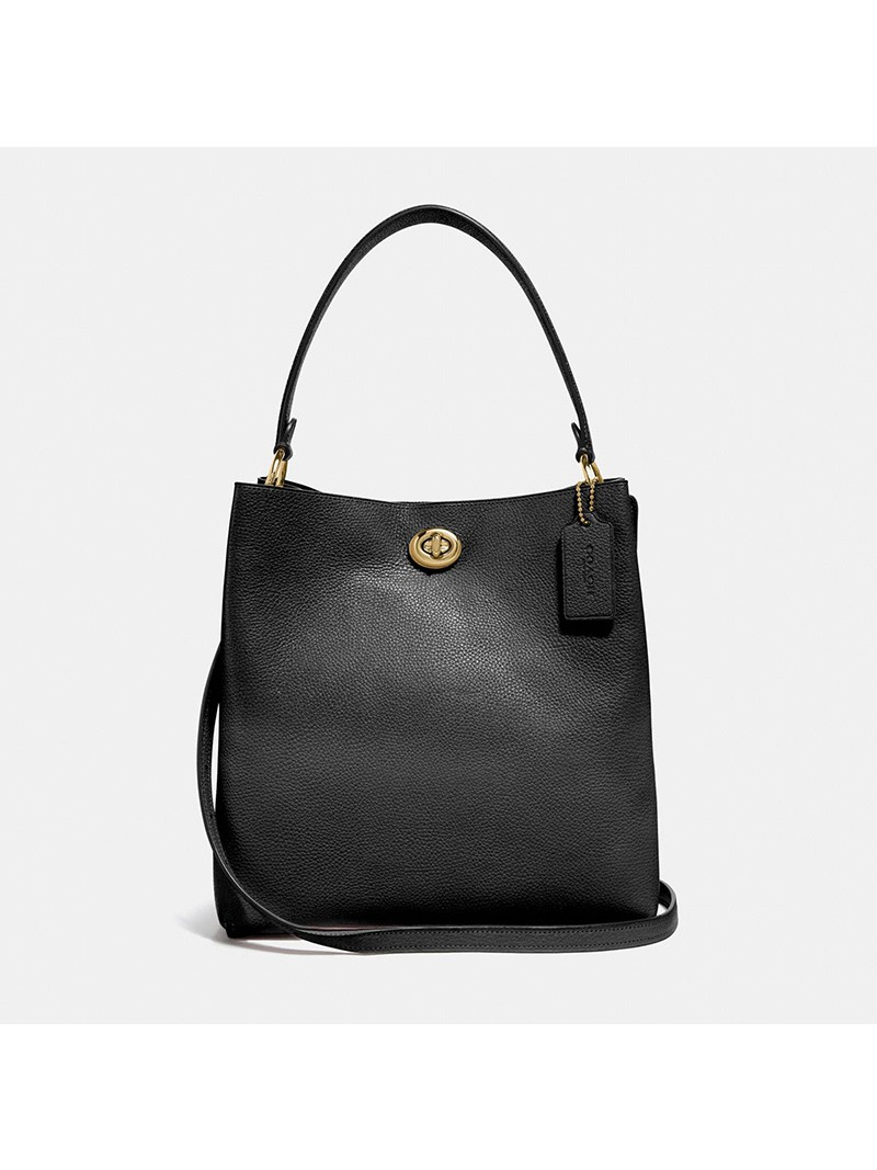 Coach Charlie Bucket Bag in Pebble Leather Black