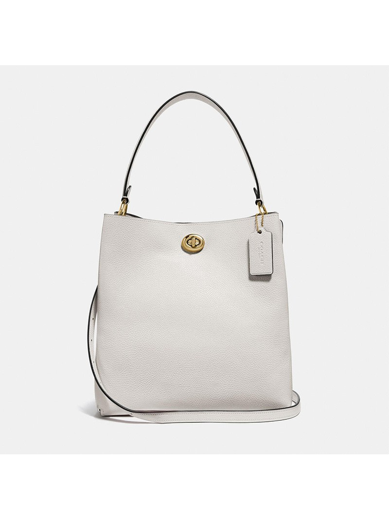 Coach Charlie Bucket Bag in Pebble Leather White