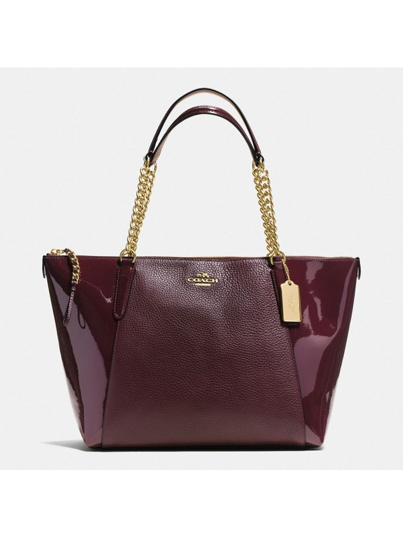 Coach Ava Chain Tote in Pebble and Patent Leather Burgundy