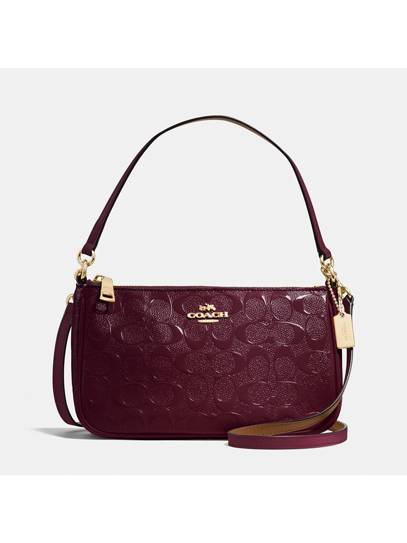 Coach Top Handle Pouch in Signature Leather Burgundy