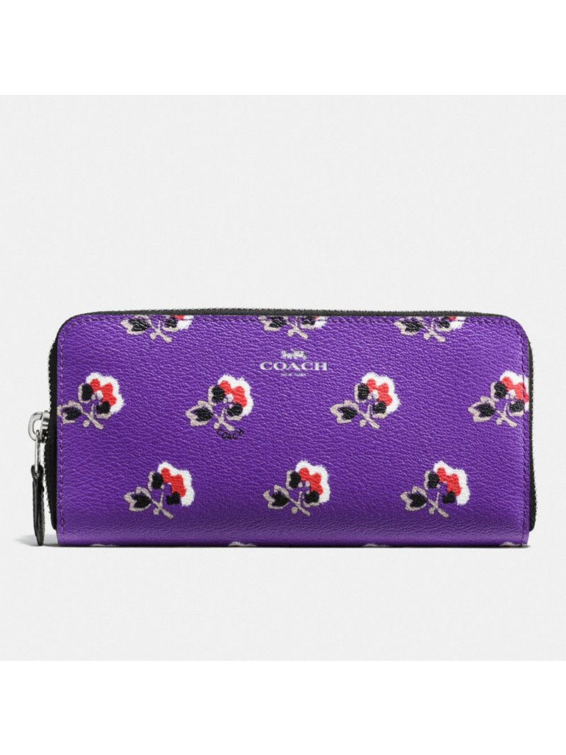 Coach Accordion Wallet with Bramble Rose Print in Coated Canvas Pueple