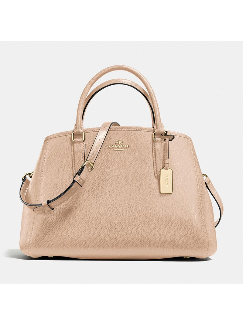 Coach Small Margot Carryall in Crossgrain Leather Apricot