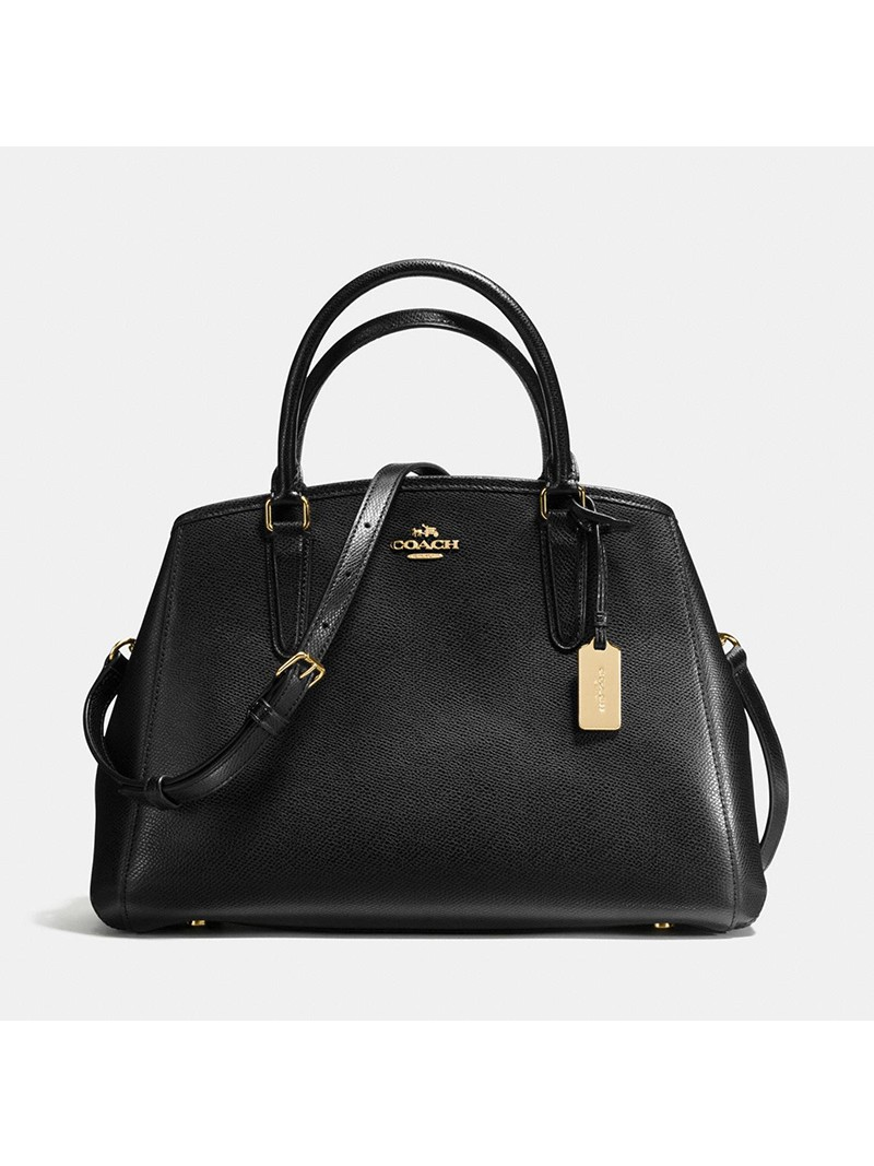 Coach Small Margot Carryall in Crossgrain Leather Black