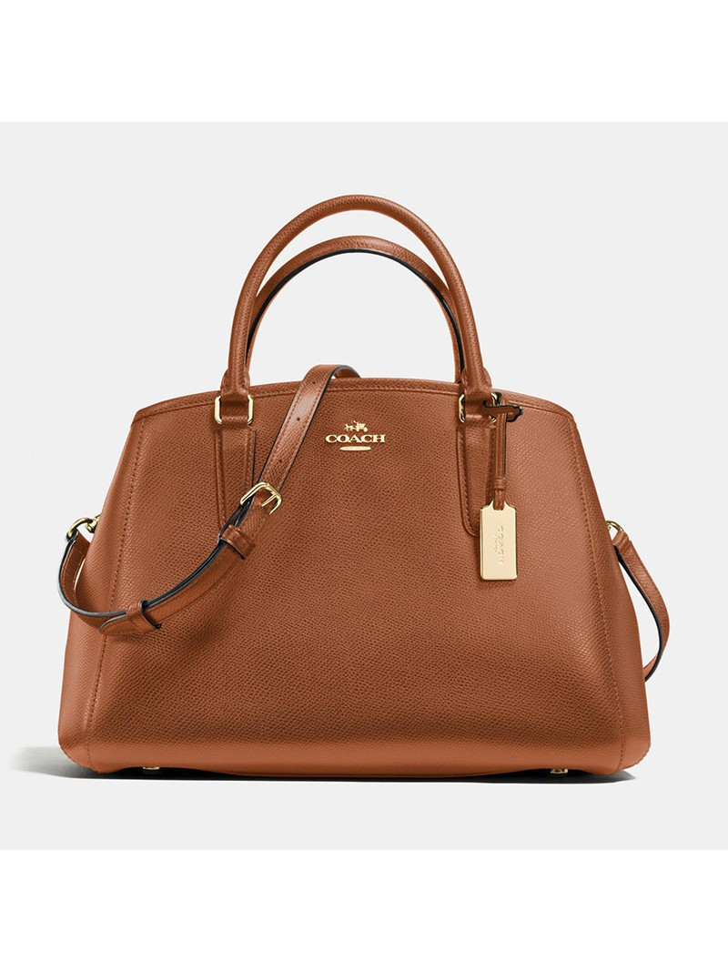 Coach Small Margot Carryall in Crossgrain Leather Brown