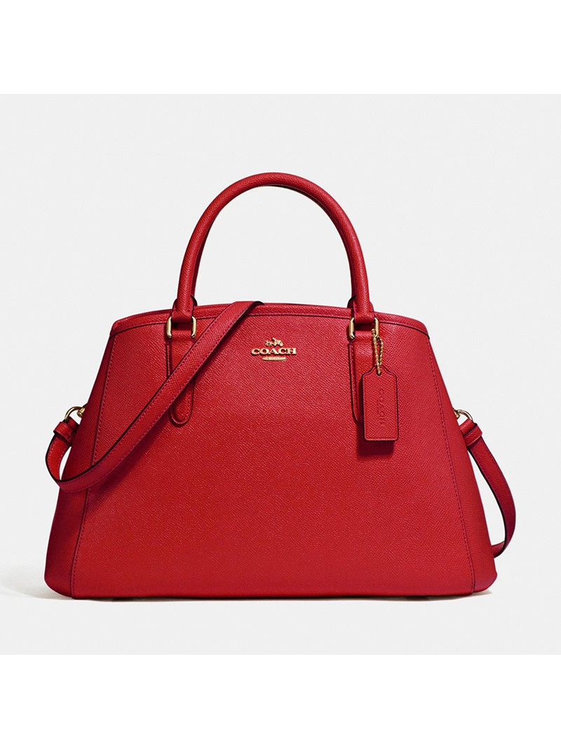 Coach Small Margot Carryall in Crossgrain Leather Red