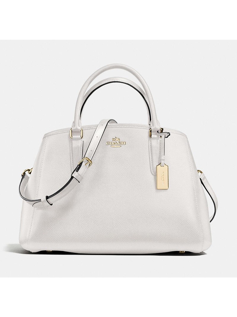 Coach Small Margot Carryall in Crossgrain Leather White