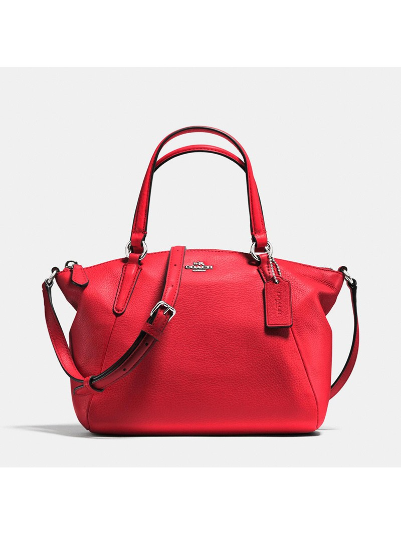 Coach Mini Kelsey Satchel in Pebble Leather Red