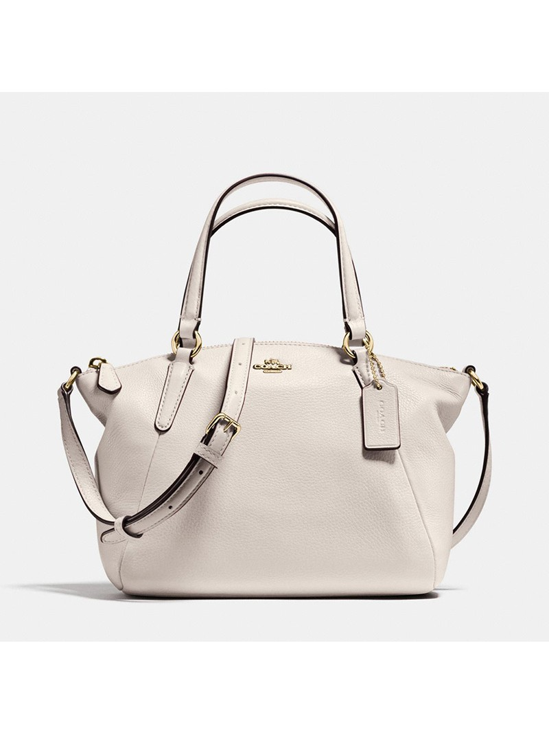 Coach Mini Kelsey Satchel in Pebble Leather White
