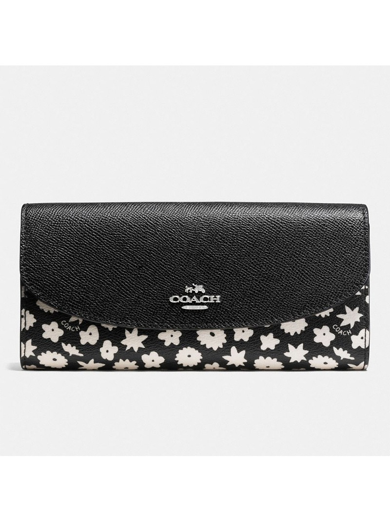 Coach Envelope Wallet with Graphic Floral Print in Coated Canvas Black